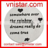 Vnistar 22mm Somewhere over the rainbow, dreams really do come true stainless floating plate charm AC510
