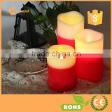 Everlasting Flameless Pillar LED Candle, Wax Melted Edge with Drip Effect, Red White led flameless candles with realistic flame