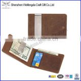 Custom Men's Front Pocket Crazy Horse Slim Leather Money Clip Wallet