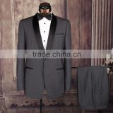 Light Grey Jacket With Black Satin Lapel Groom Tuxedos wedding Suits