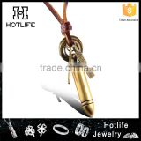 high end men fashion jewelry genuine leather rope bullet necklace with cross and engrave plate