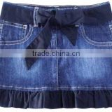 Girls fashion style cotton strech enzyme wash tape denim skirt girls mini belt 3/4 denim skirts factory price