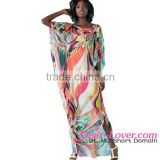 New Design Wholesale Artistic Colorful Floral Print Chiffon Beach Kaftan Smock Oem Swimwear Manufacturing