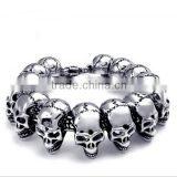 Wholesale Fashion Personalised Punk Stainless Steel casting Skull bracelet jewelry for Halloween Gift