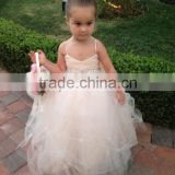Cute V-Neck Spaghetti Straps Pleats Bead Crystal Band Layed Tulle Dress Big Bow Zipper Princess Flower Girl Dress XYY-009