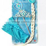 Children's day tire Four wig braid gloves magic wand Snow and ice colors suit elsa crown princess