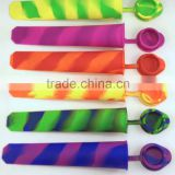 BPA Free Stripe Silicone Popsicle Mold Snack Cup Ice Pop Mold Lunch Box Container With Lids