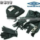 high quality fashion promotional polar fleece hat scarf gloves set with embroidered logo