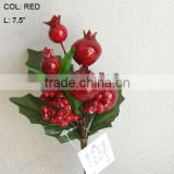 "New Artificial Christmas Red Mini Fruit Pick 7.5"" Artificial Polyfoam With Berries and Pineneedle Pick"