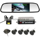 "Car Reverse Backup Radar with 4 Parking Sensors+4.3"" Car Mirror Monitor +Waterproof car Camera"