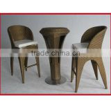 Hot sales fashion PE rattan restaurant bar chair and table /patio garden bar furniture sets