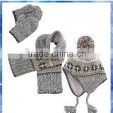 grey fairisle knit scarf hat & glove sets for young boys