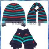 2014 best selling boys stripe knitted hat scarf and gloves