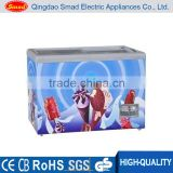 355L commercial flat glass door compressor chest/deep freezer , manual defrost chest freezer