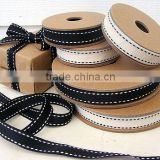 black 1 inch grosgrain ribbon with white stitched wired