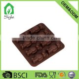 Convenience used BPA free 8-cup bear toy silicone chocolate mould or square ice cube maker