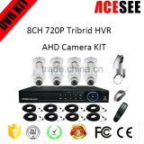 ACESEE new arrival indoor 8 channel 720p tribrid cctv dvr ahd camera home security system