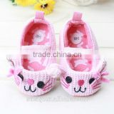 fancy cat face fabric baby moccasin girls shoes