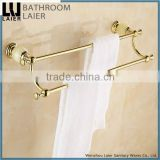 Made In China Brass And Stone Gold Finishing Bathroom Accessories Wall Mounted Double Towel Bar