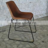 Giron iron & leather dining chair, Industrial Leather metal Chair