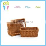 Wholesale custom high quality durable pp rattan synthetic wicker storage basket egg fruit picnic basket wicker