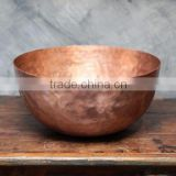 Spa Foot Soak Copper Hammered Bowl, Pedicure Bowl, Massage Bowl With Pitcher Round hammered Bowl Copper