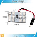 RGB 5050 24SMD LED Panel Dome Light Auto Remote Controlled Colorful Led Lamp DC 12V With T10 BA9S Festoon Adapters