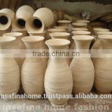 Round natural color bamboo flower vase