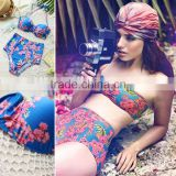 Wholesale Women ladies High Waisted Vintage Push Up Bandeau Bikini Sexy Swimsuit Swimwear M-XL SV006526