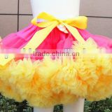 Hot multicolor girl fluffy pettiskirt with bow baby pettiskirt