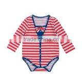 Baby Girl Long Sleeve Red White Striped Romper Outfit Clothes