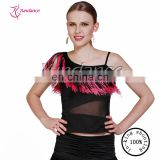 AB014 Ladies' newest lace sleeves one shoulder practice latin salsa ballroom dance wear dancing tops