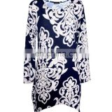 Long Sleeves Plus Size White Floral Print Tunic For Old Women