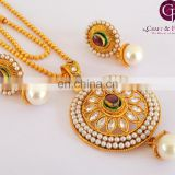 South Indian Bridal Jewelry Set-One gram gold plated pendant sets-wholesale indian Oversize Pendant set