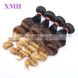 Fashion colored three tone hair weave 1b 30 27 curly hair 7A grade colored Brazilian hair weave