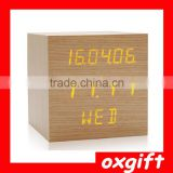 OXGIFT Multifunction Office desk decoration Fashion Led Wood Alarm clock - Square
