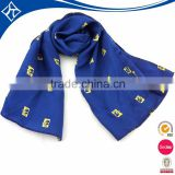 wholesale china cheap design plaid print blue polyester long scarf with logo