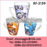 Beautiful Butterfly Print Promotional Porcelain Coffee Mug with Good Quality for Hot Sale Porcelain Mug