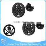 ZS20383 black cute teenager stud earring custom charm skull earrings for men