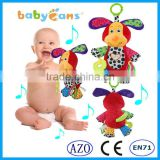 Babyfans Spot Pattern Plush Music Teether Plastic Ring Hanging Baby Toys