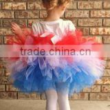 Hot sale little girls in short skirts blue red white tulle tutu skirt for girls boutique girls chiffon pettiskirt