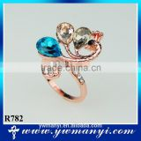 High quality rose gold plated crystal peacock ring R782                                                                                                         Supplier's Choice