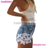 Lace Floral Beading Shorts Wash Rivet Decorated Girls Jeans Pants
