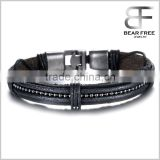 Hand-made Mens Black Braided Leather Bracelet Leather Wristband Wrap Bracelet
