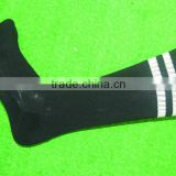 Wholesale price soccer socks,Blank black striped football socks