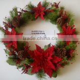 2015 new christmas artificial poinsettia and berry wreath red 24 inch christmas artificial pine flower decoration