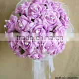 "Hot Sale Artificial PE Rose mesh Flower 10""PE Bouquet with beaded ornament For Wedding Decoration"