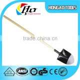 Two color steel head mechanical industrial round point shovel with wooden handle                                                                         Quality Choice