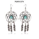 New design fashionable elegant vintage silver turquoise bead dream catcher leaf earrings