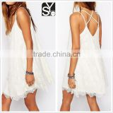 Ladies western dress designs summer fashion dresses, spaghetti strap eyelash lace women's dresses